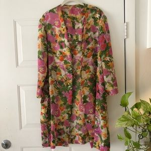 Vintage Kimono Hand Made Mid Length Pink Roses